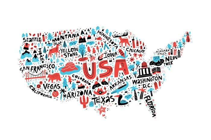 art concept of united states map with area names