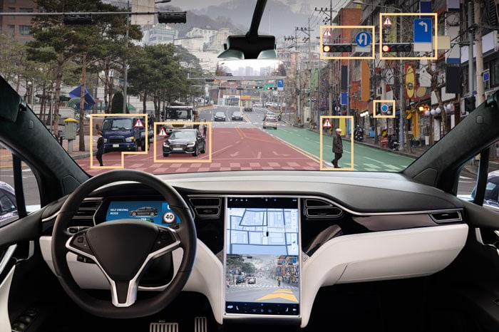 object awareness concept of car scanning a busy city street